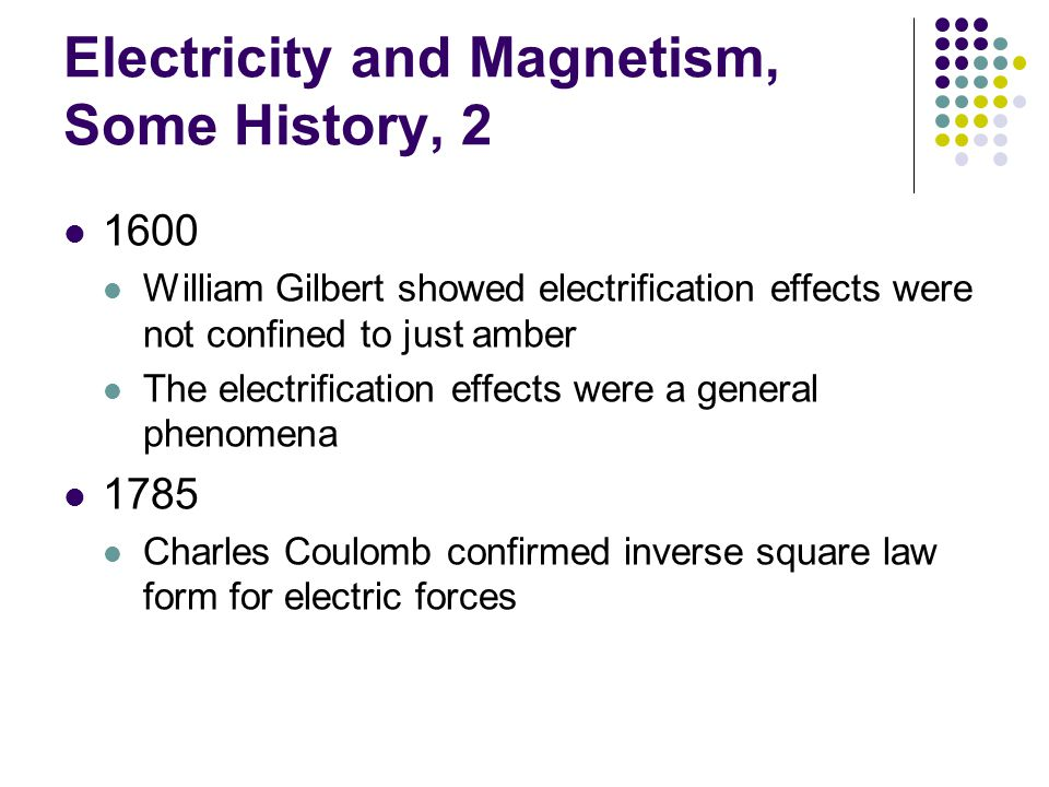 Electricity and Magnetism, Some History, 2