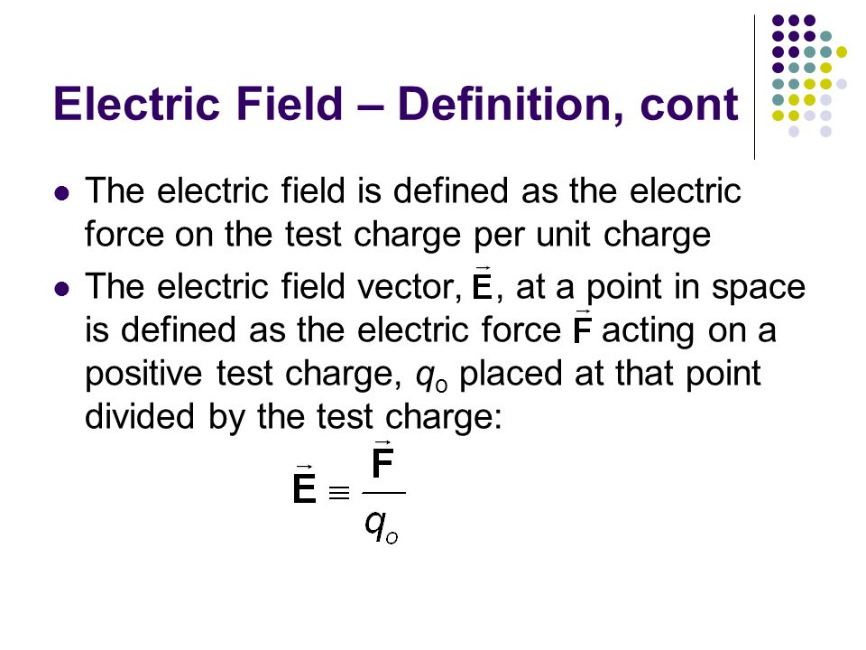 Electric Field – Definition, cont