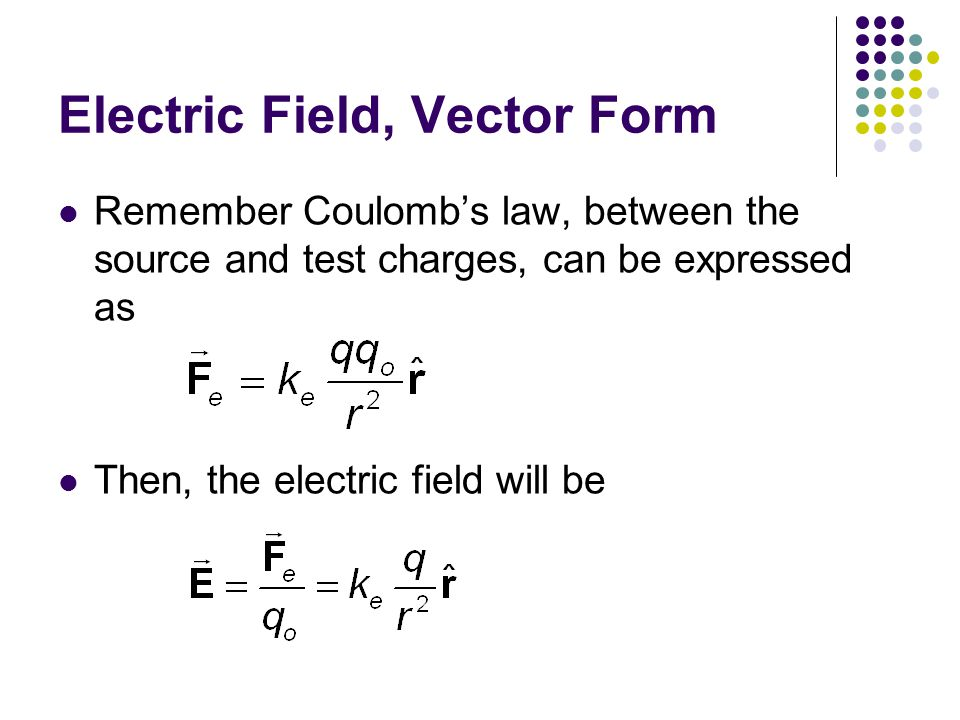 Electric Field, Vector Form