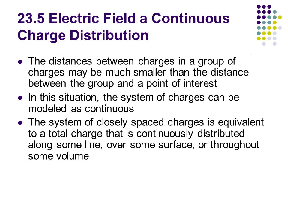 23.5 Electric Field a Continuous Charge Distribution