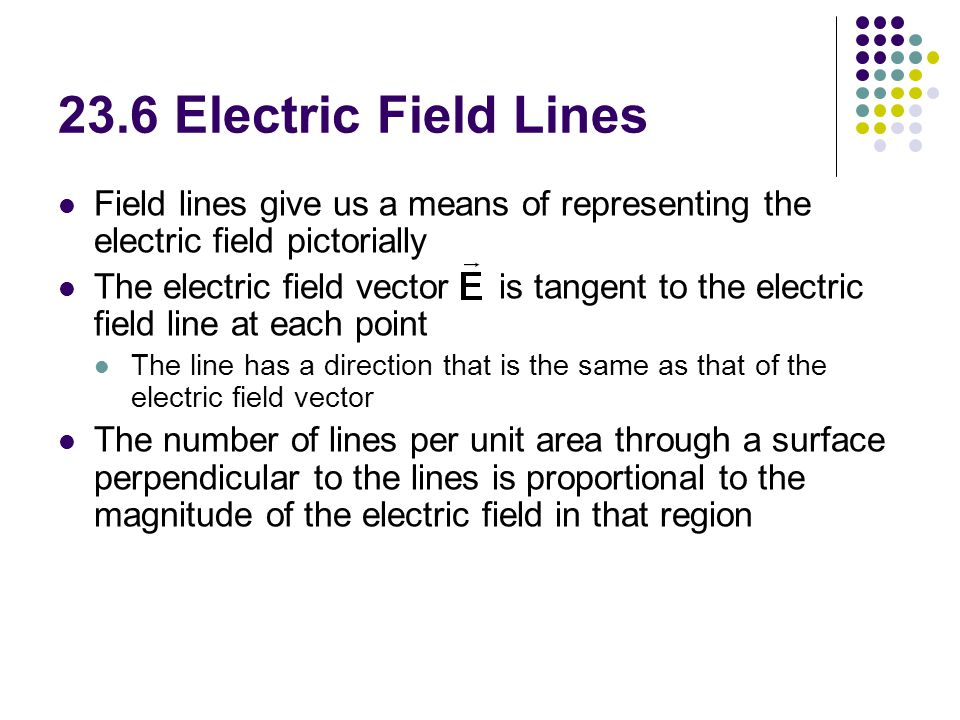 23.6 Electric Field Lines Field lines give us a means of representing the electric field pictorially.