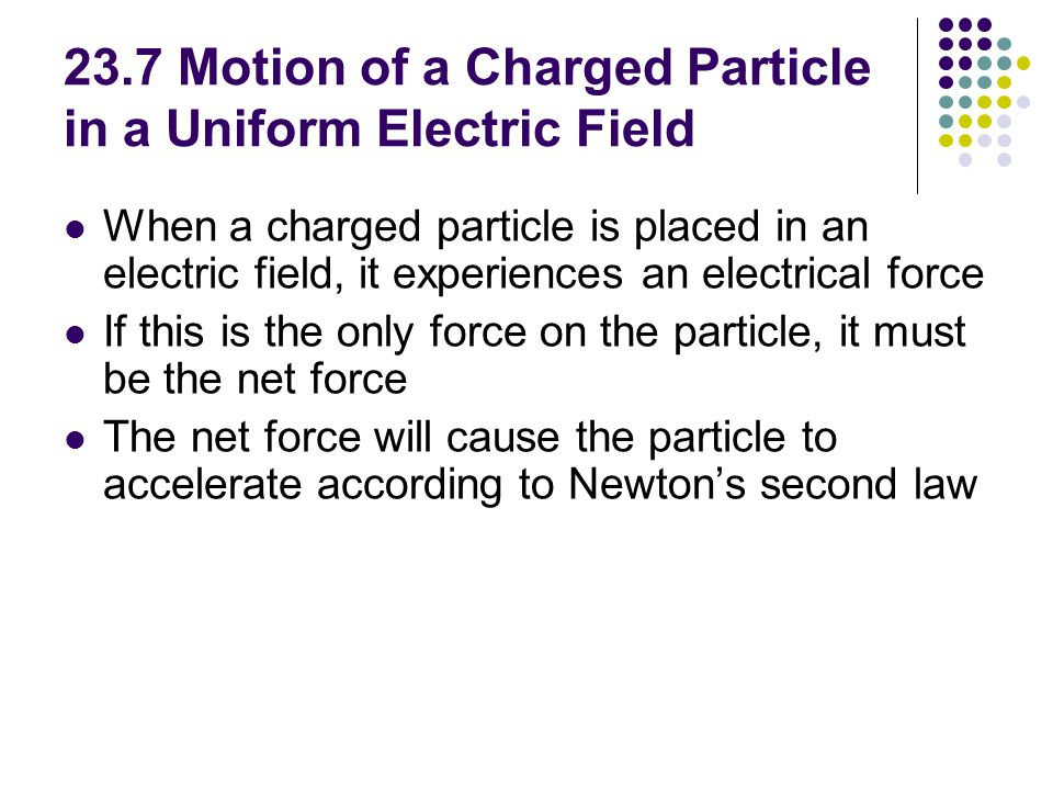 23.7 Motion of a Charged Particle in a Uniform Electric Field