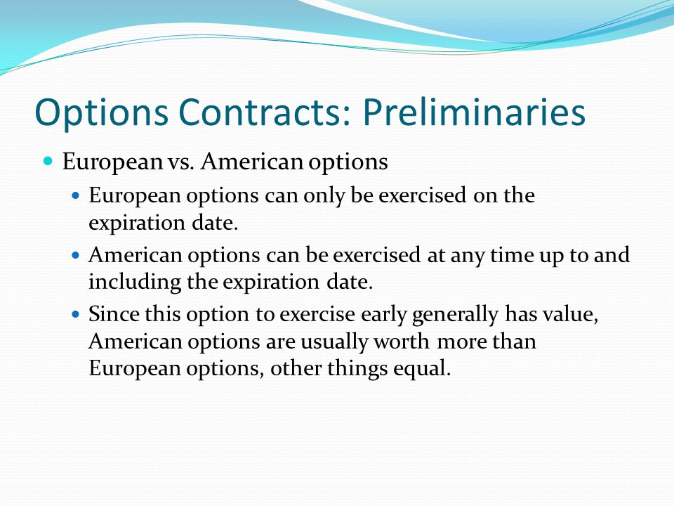 Fx options american vs european