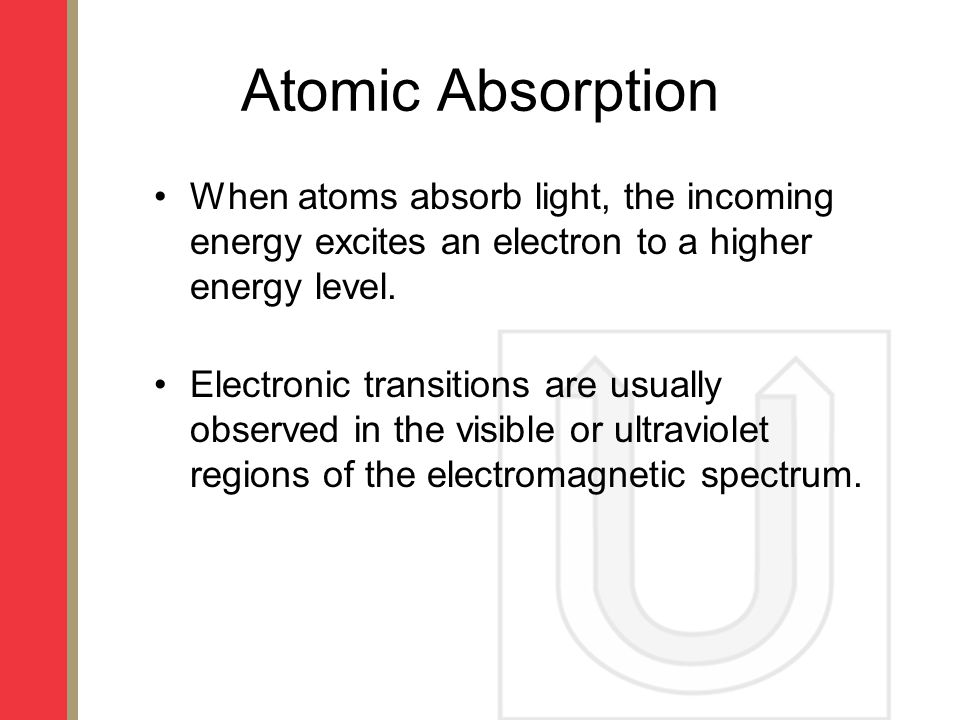 Atomic Absorption When atoms absorb light, the incoming energy excites an electron to a higher energy level.