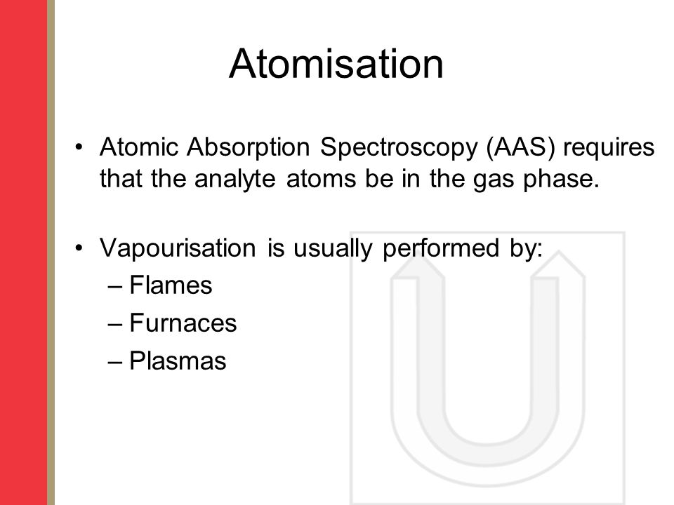 Atomisation Atomic Absorption Spectroscopy (AAS) requires that the analyte atoms be in the gas phase.