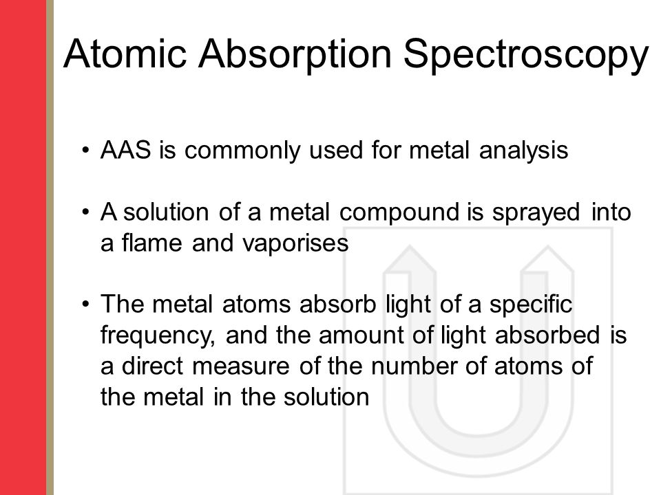atomic absorption spectroscopy analysis Atomic absorption (aa) spectroscopy is an analytical method that supports qualification and/or quantification of elements in this use, the aa method supports procedures that measure the absorbance of radiation at a characteristic wavelength by a.