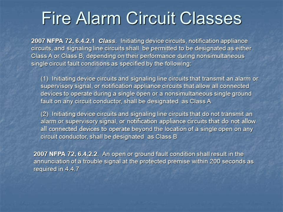 Fire Alarm Circuit Classes