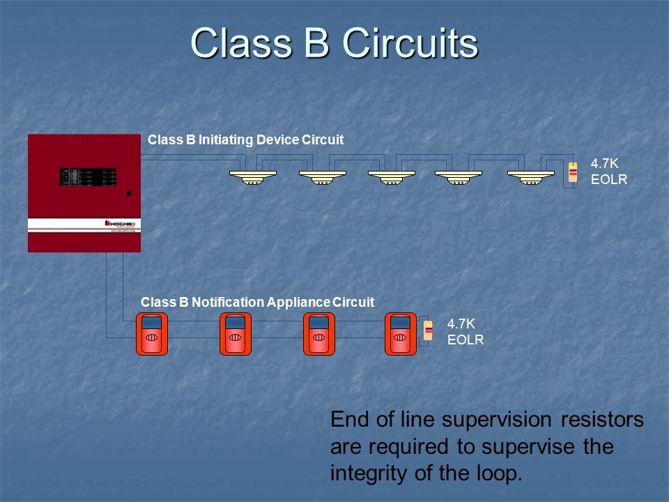 Class B Circuits Class B Initiating Device Circuit. 4.7K EOLR. Class B Notification Appliance Circuit.