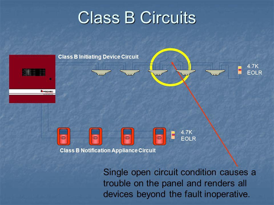 Class B Circuits Class B Initiating Device Circuit. 4.7K EOLR. 4.7K EOLR. Class B Notification Appliance Circuit.