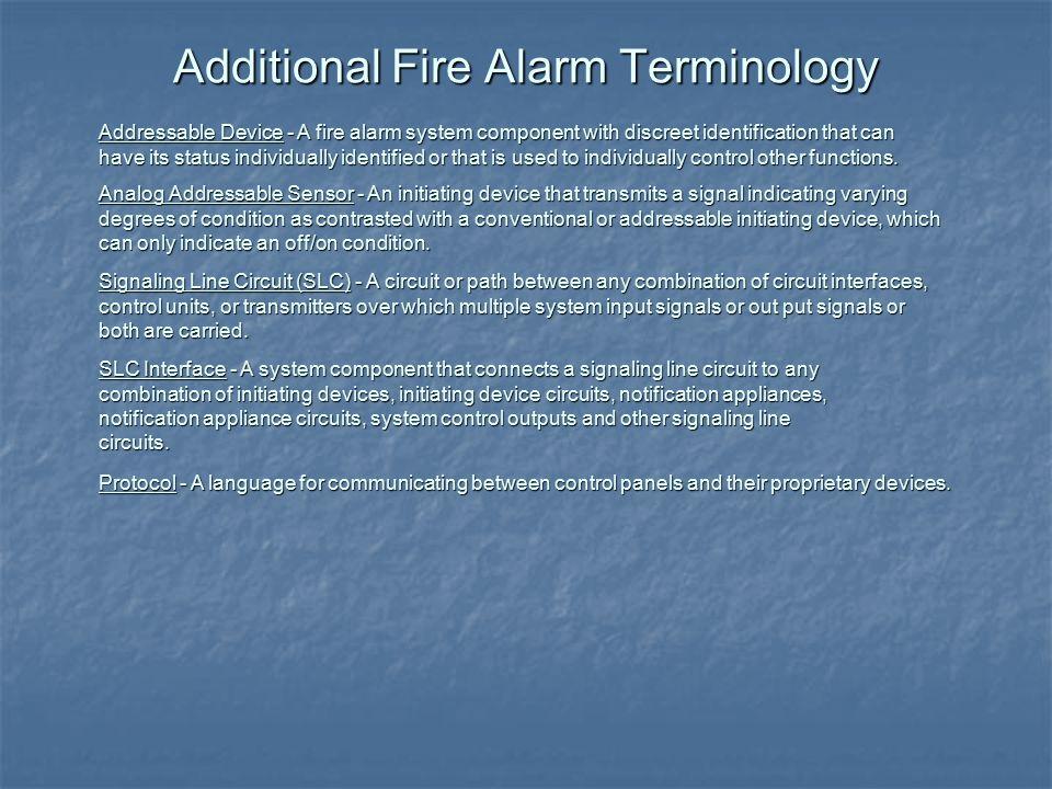 Additional Fire Alarm Terminology