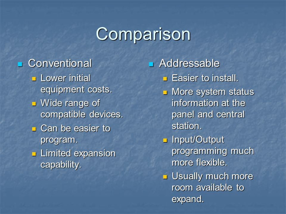 Comparison Conventional Addressable Lower initial equipment costs.