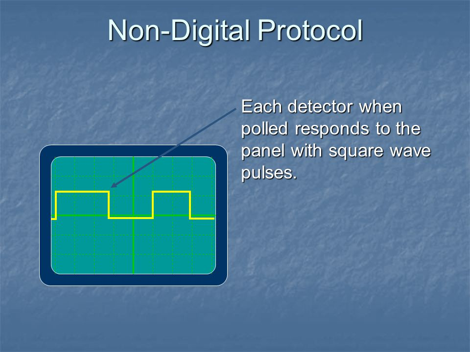 Non-Digital Protocol Each detector when polled responds to the panel with square wave pulses.