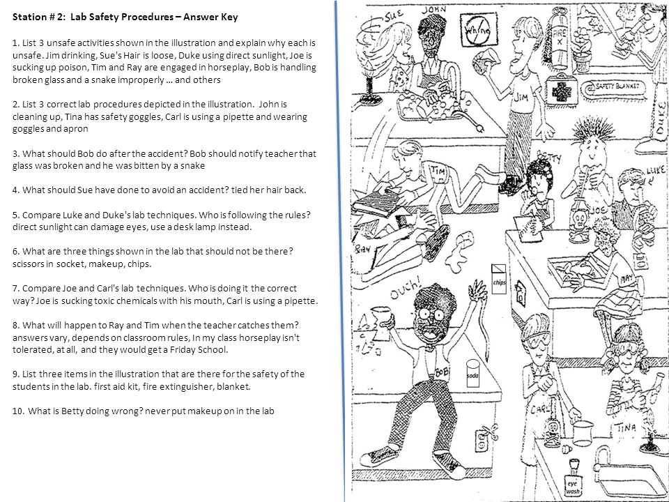 Lab Safety Cartoon Worksheet Answer Key - lab safety cartoon ...