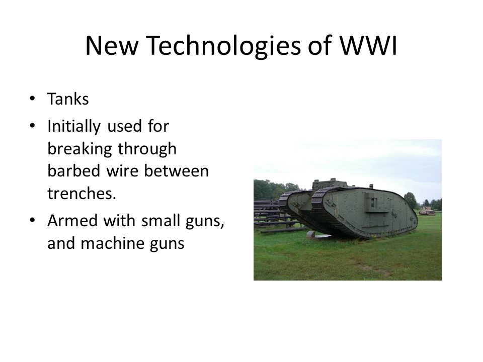 technology in wwi Discussion points with the partner assigned to you, discuss the following questions about technology in world war i 1what potential impact does technology have.