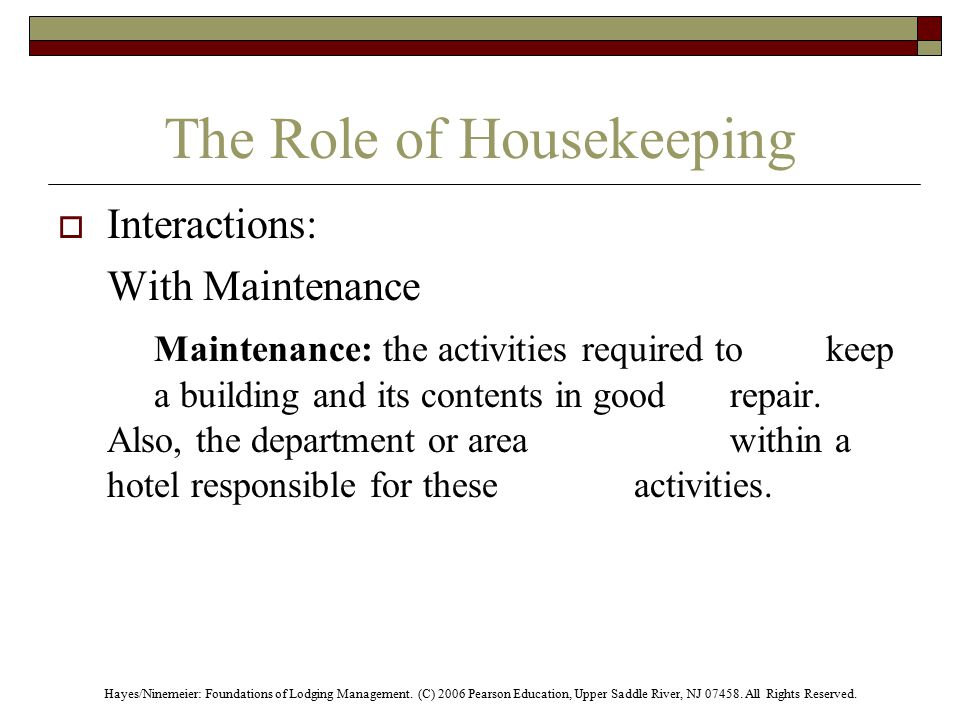 Housekeeping Department Duties