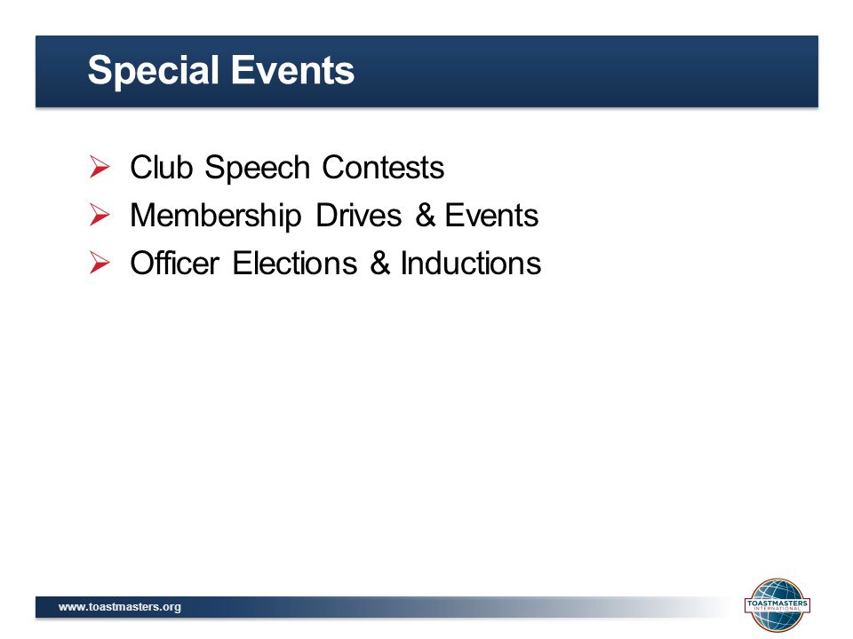 Special Events Club Speech Contests Membership Drives & Events