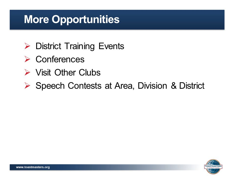 More Opportunities District Training Events Conferences