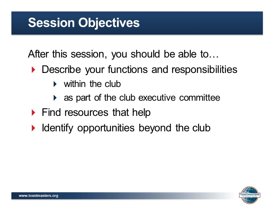Session Objectives After this session, you should be able to…