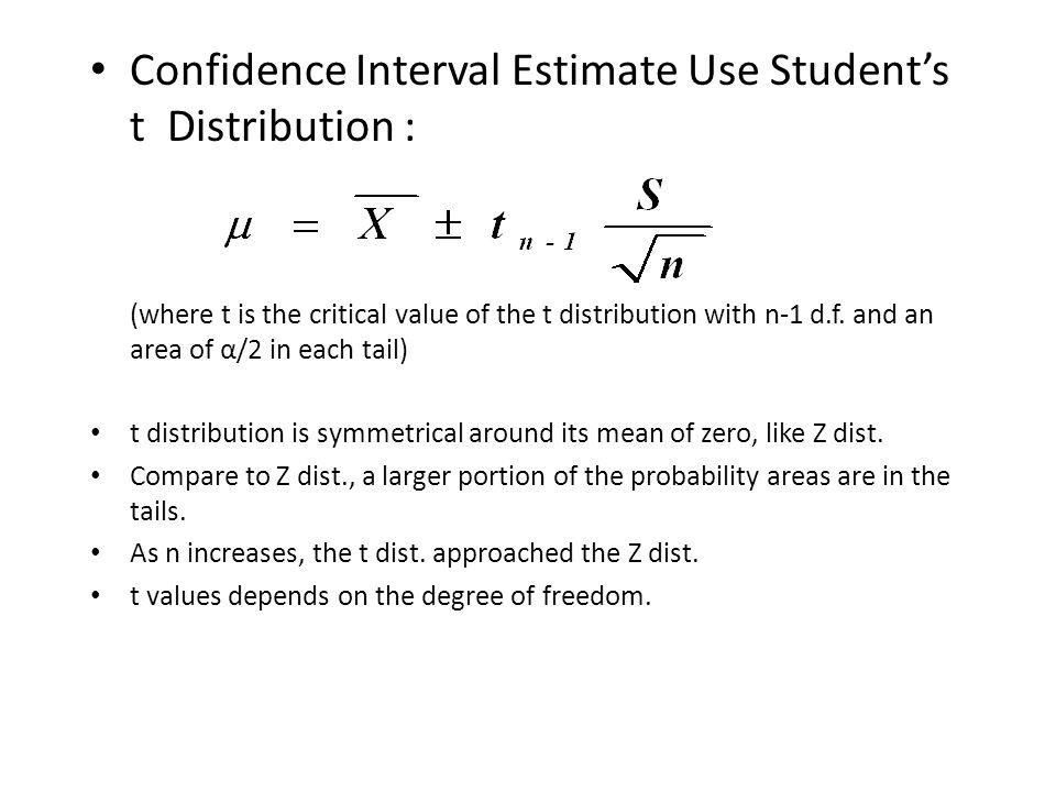 Confidence interval estimation of population mean when for T value table 99 confidence
