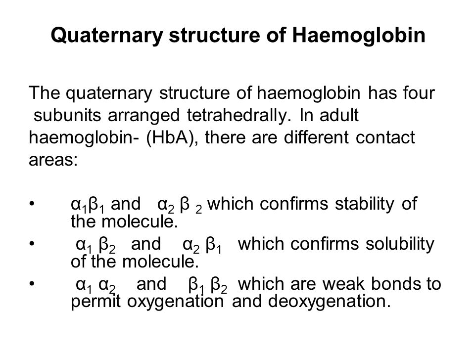Quaternary structure of Haemoglobin