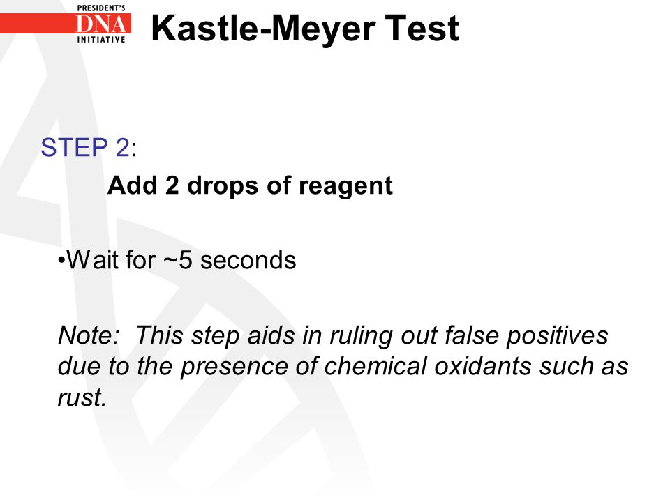 Kastle-Meyer Test STEP 2: Add 2 drops of reagent Wait for ~5 seconds