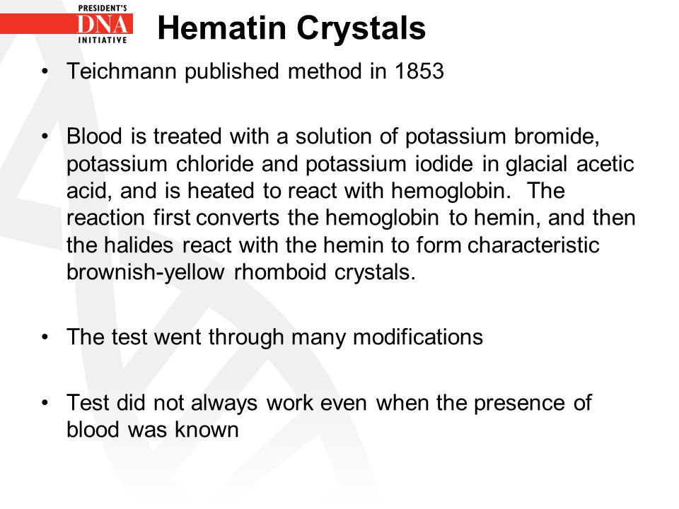 Hematin Crystals Teichmann published method in 1853