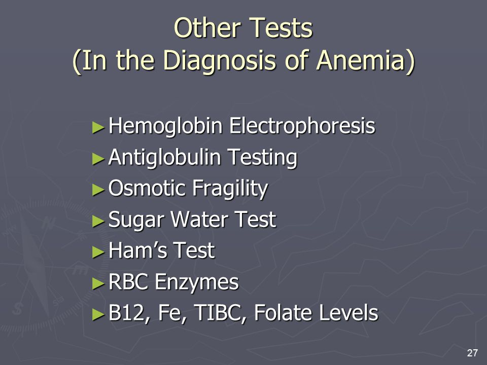 Other Tests (In the Diagnosis of Anemia)