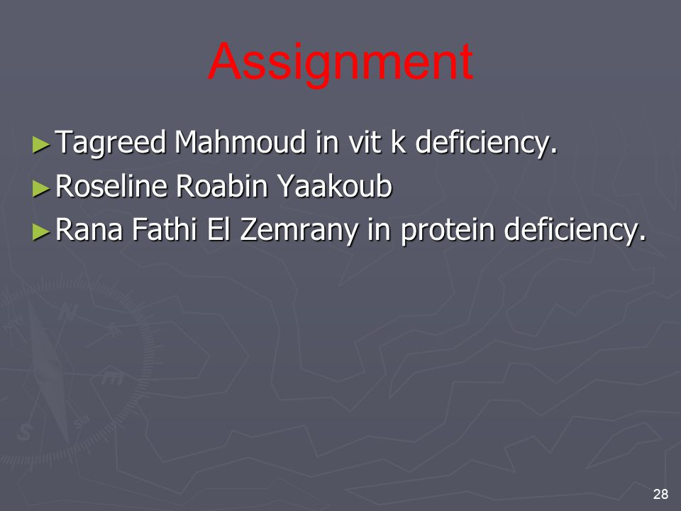 Assignment Tagreed Mahmoud in vit k deficiency.