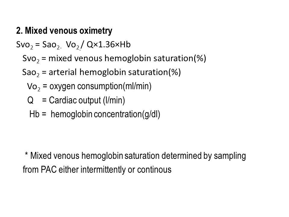mixed venous oxygen saturation pdf
