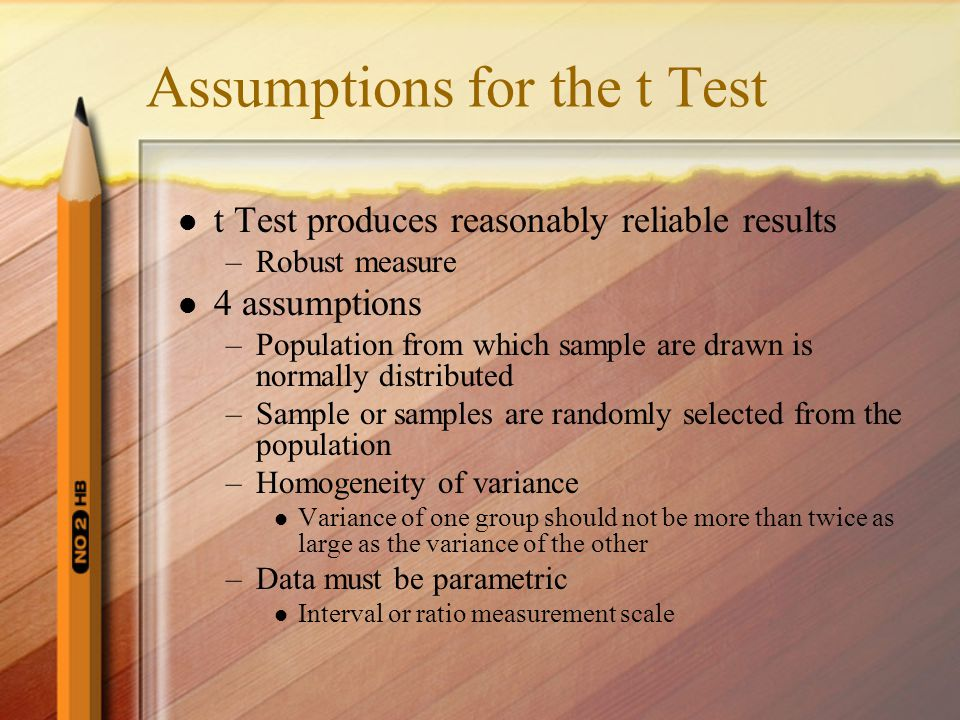 Assumptions for the t Test