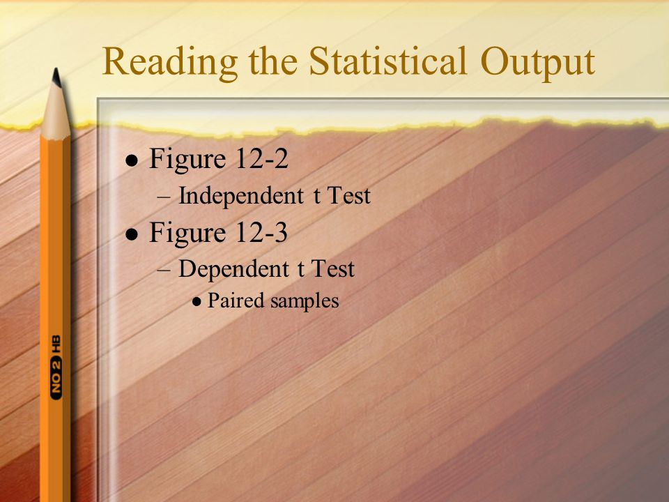 Reading the Statistical Output