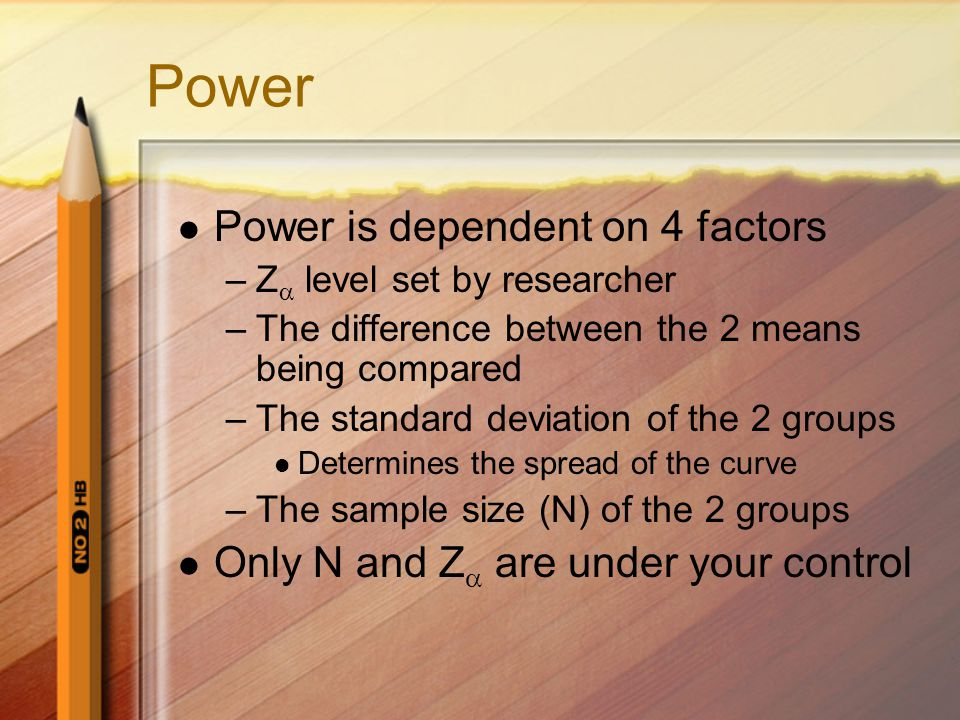 Power Power is dependent on 4 factors
