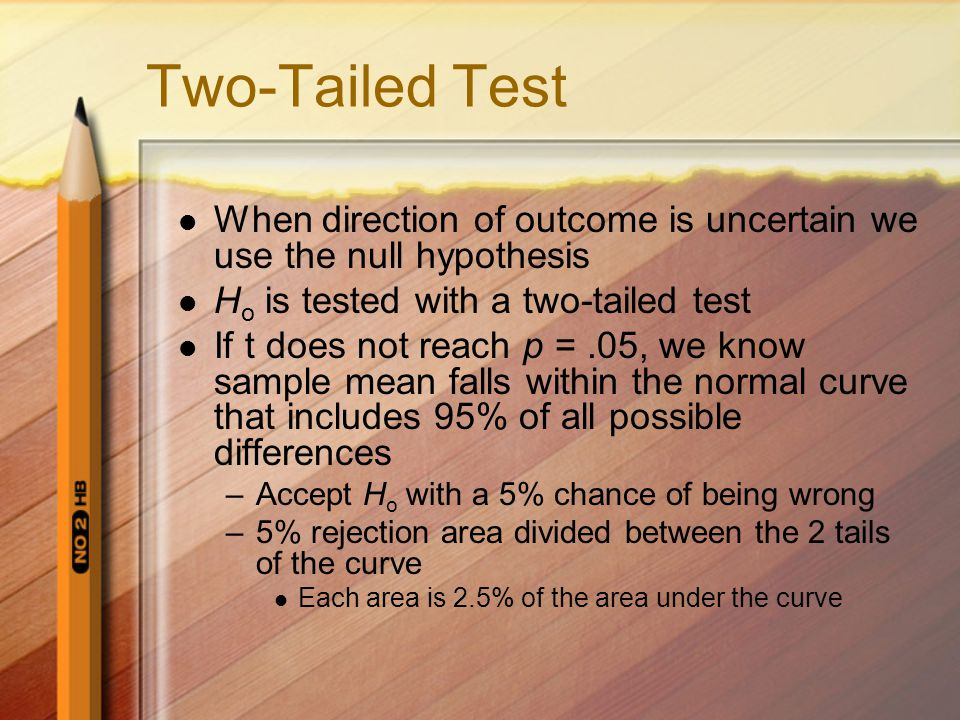 Two-Tailed Test When direction of outcome is uncertain we use the null hypothesis. Ho is tested with a two-tailed test.