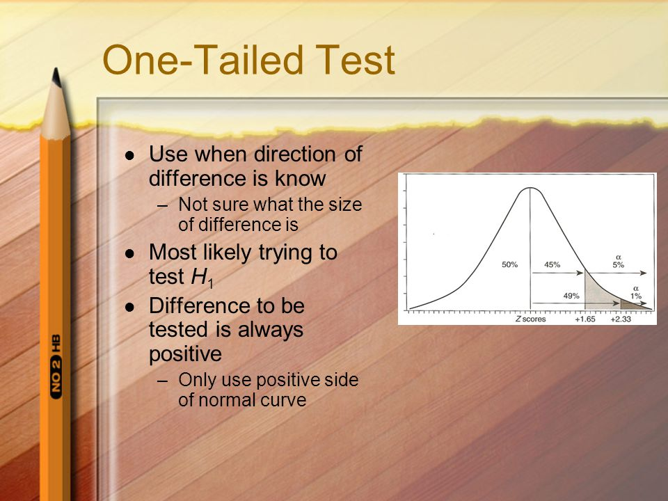 One-Tailed Test Use when direction of difference is know