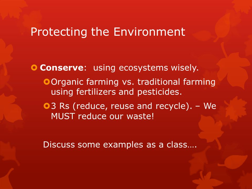 protecting the environment Protecting the environment only relatively recently has the federal government justified a significant amount of intervention into the economy to protect the environment.