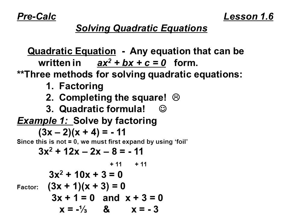 how to solve quadratic formula without c