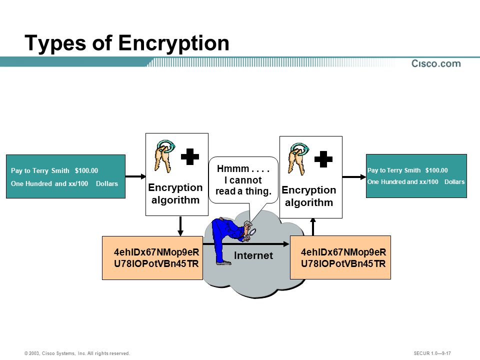 Types of Encryption Encryption Encryption algorithm algorithm Internet