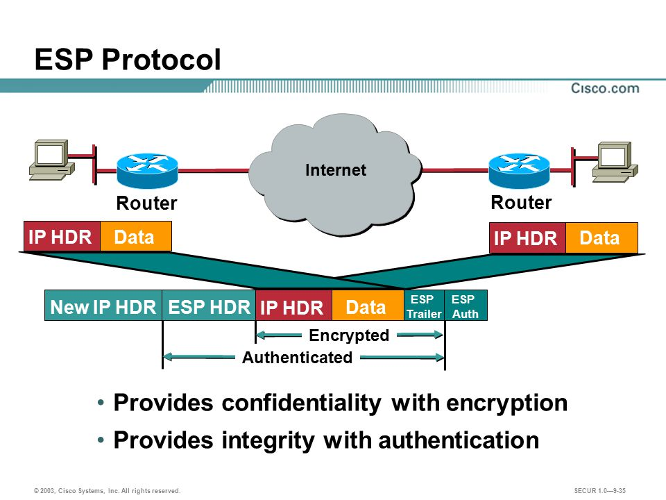 ESP Protocol Provides confidentiality with encryption