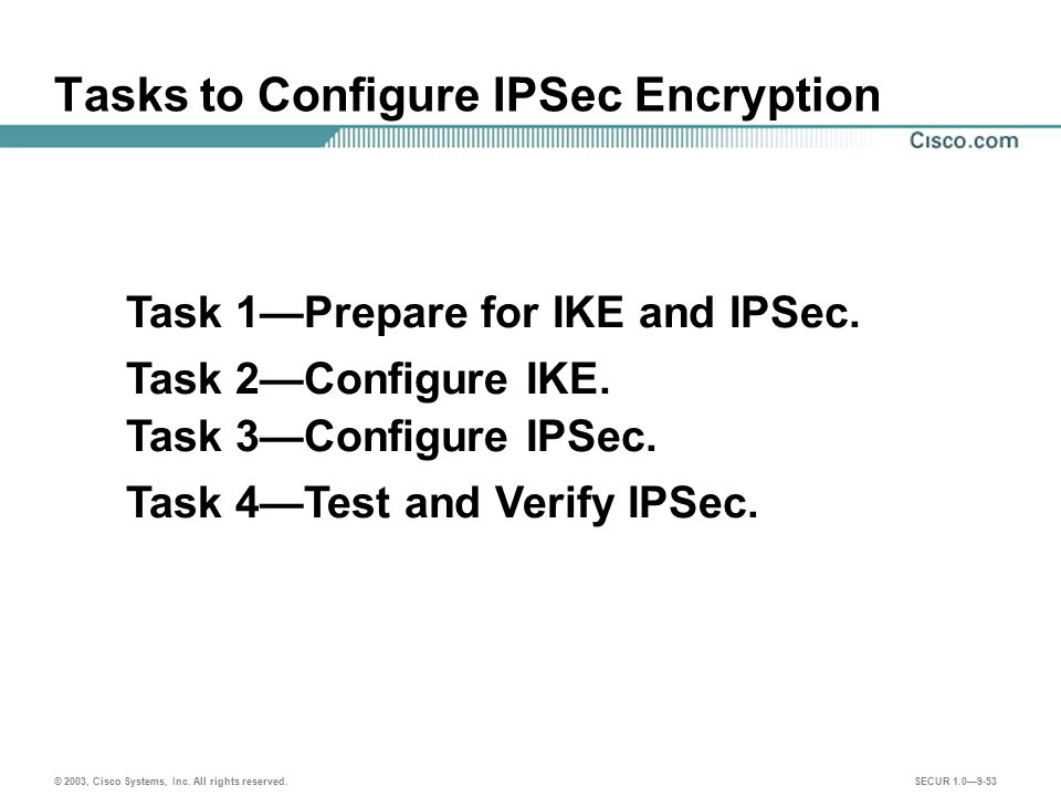 Tasks to Configure IPSec Encryption