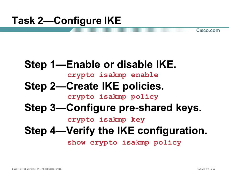Step 1—Enable or disable IKE. Step 2—Create IKE policies.