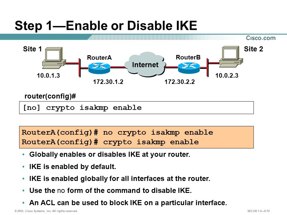 Step 1—Enable or Disable IKE