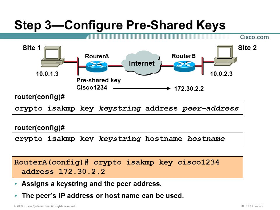 Step 3—Configure Pre-Shared Keys