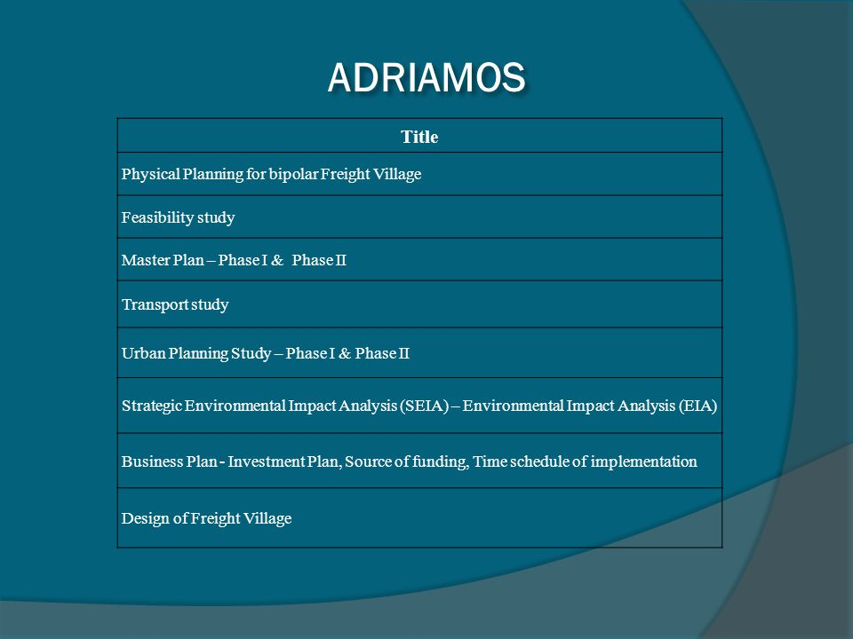 ADRIAMOS Title Physical Planning for bipolar Freight Village