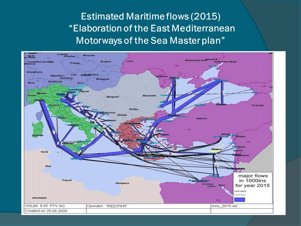 Estimated Maritime flows (2015) Elaboration of the East Mediterranean