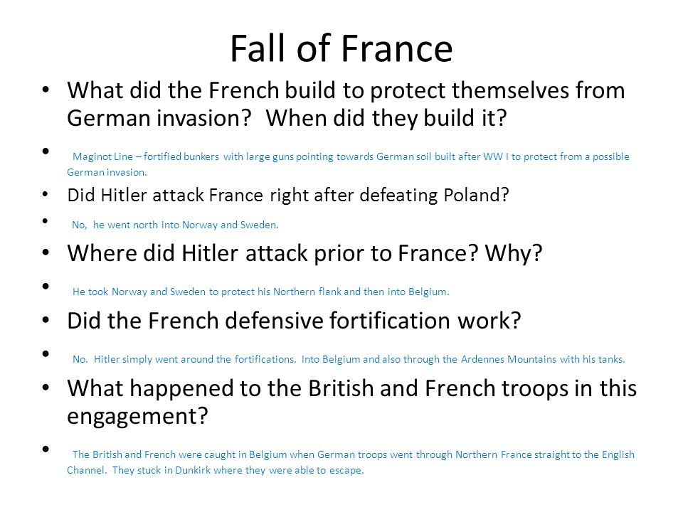 Fall of France What did the French build to protect themselves from German invasion When did they build it