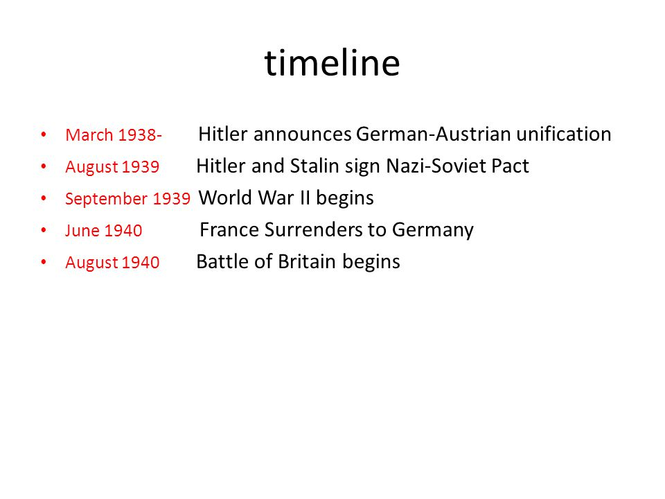 timeline March Hitler announces German-Austrian unification