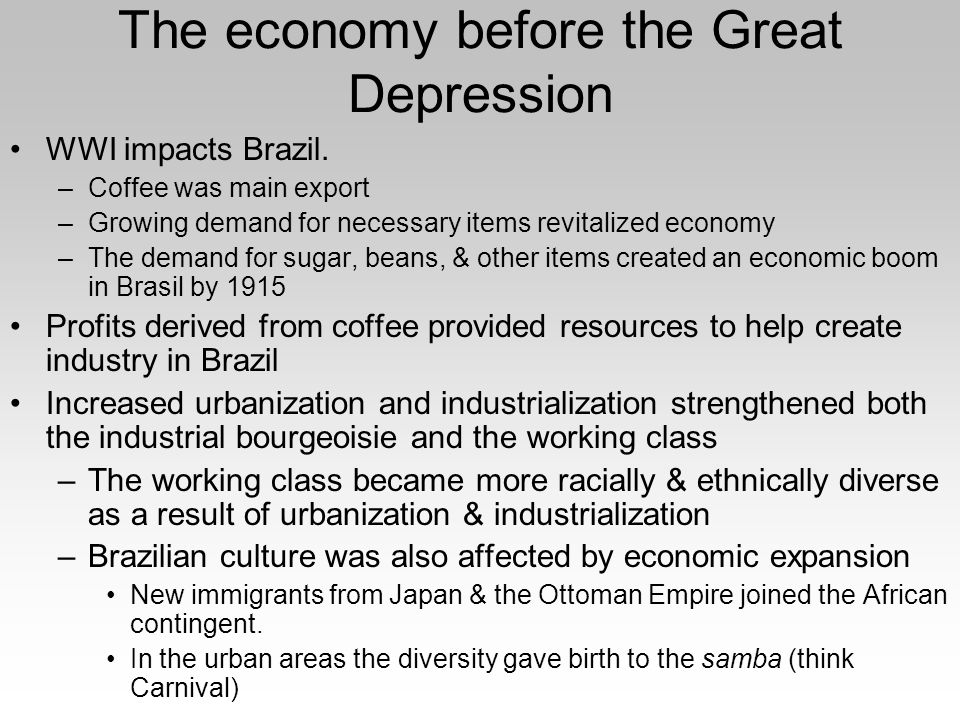 an introduction to the financial depressions of brazil The economic history of brazil covers various economic events and traces the changes in the brazilian economy over the course of the history of brazil portugal, which first colonized the area in the 16th century, enforced a colonial pact with brazil, an imperial mercantile policy, which drove development for the subsequent.