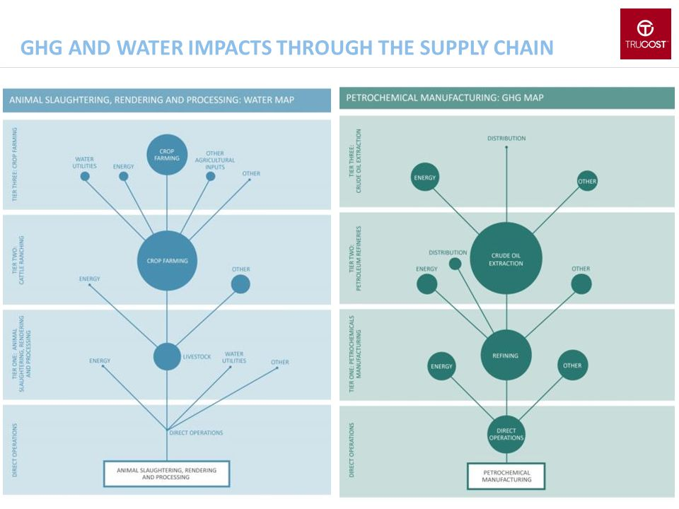 GHG and water impacts through the supply chain