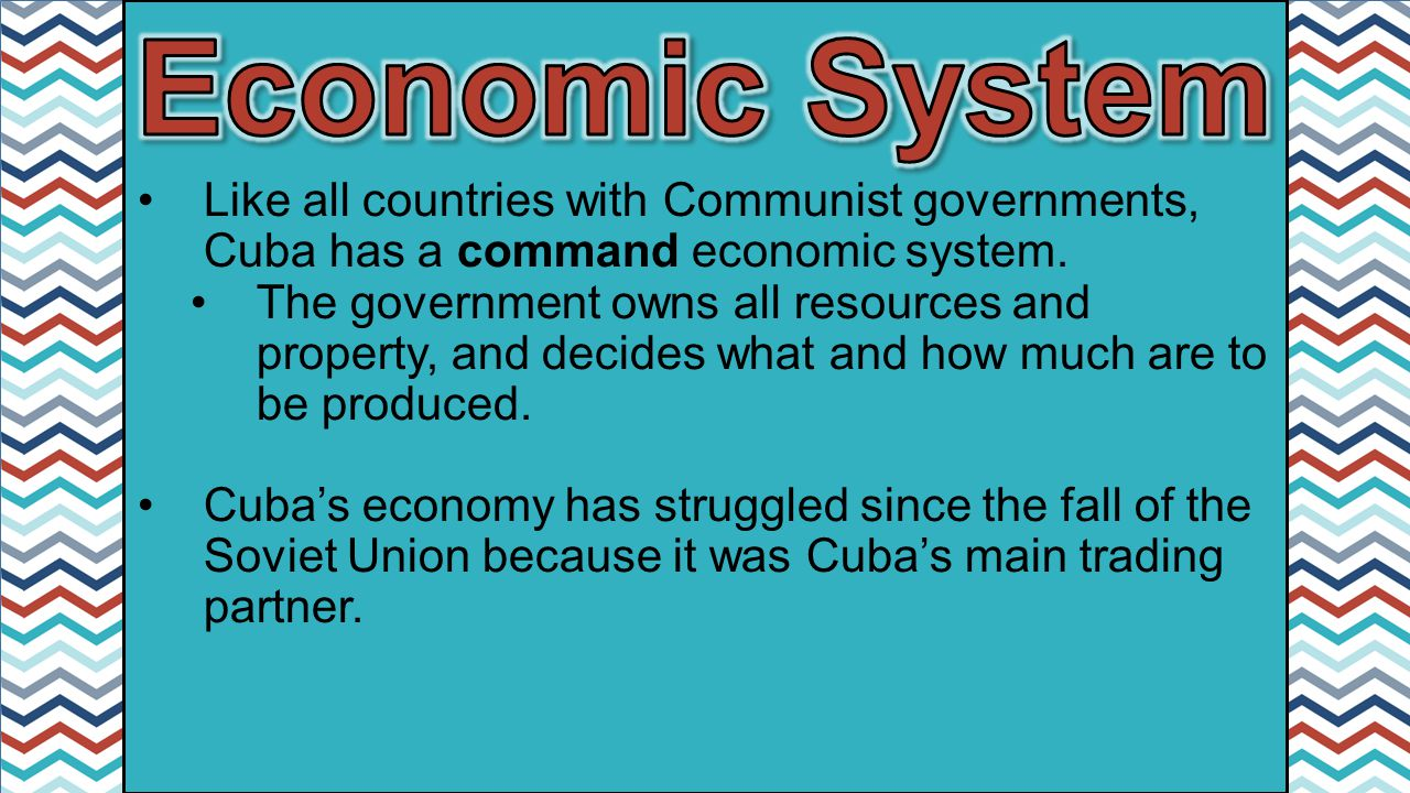 economic system in cuba Right before the socialist revolution in 1959, cuba's economy was best described  as  their much-publicized organic farming and new permaculture system.