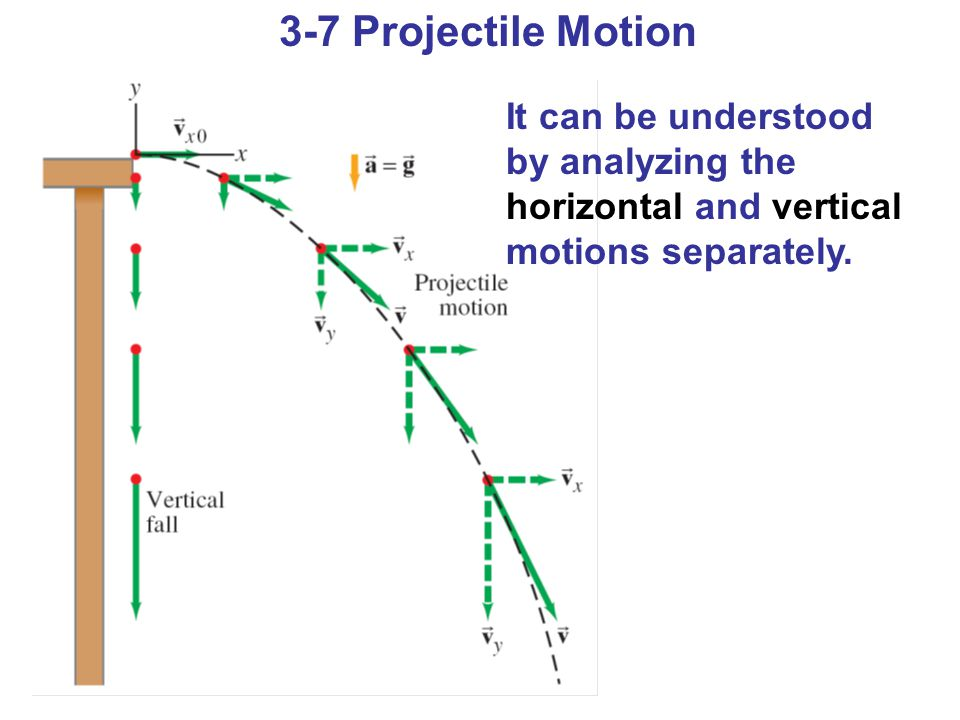 Projectile motion ppt download 3 7 projectile motion it can be understood by analyzing the horizontal and vertical motions ccuart Gallery